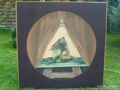 Érdekes,modern,vegyes technikájú festmény feloldatlan szignó