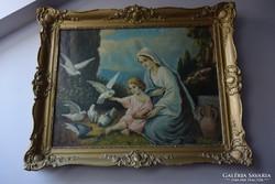 Bánáthy K.: Szűz Mária a galambokat etető Kisjézussal olaj