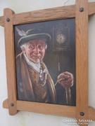 Öreg vadász - szépen megfestett portré 30-40 -as évekből