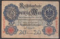 1907. Reichsbanknote, 20 R.Mark.