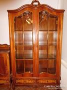 Intarziás üveges álomszép vitrines/könyves szekrény