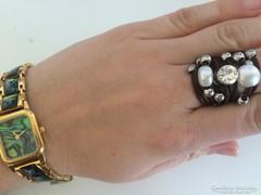 Designer igazgyöngy és bőr gyűrű 18mm átmérő