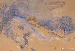 0C200 Strauss Pál : Téli tájkép 1924