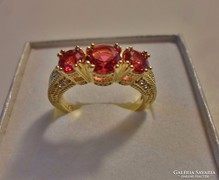 Csodás turmalinköves aranyozott ezüst gyűrű