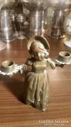 Jelzett Bronz   szobor gyertyatartó