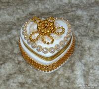 8.5cm szív alakú aranydíszes kerámia ékszeres doboz