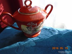 Kínai porcelán cukortartó-Szecessziós hölgy minta