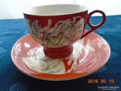 Kínai -csésze+alja-Szecessziós hölgy mintával