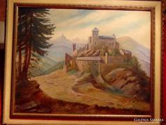 F.Schrudde / Vár a hegycsúcson - gyönyörű, hatalmas kép1931