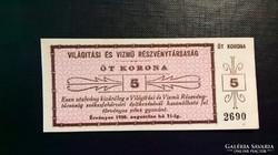 Székesfehérvár,Világítási és Vízmű Rt. 5 korona 1920.