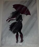 Séta az esőben, akrillal festett, modern kép