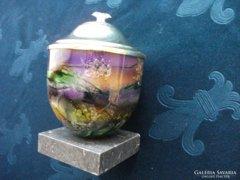 Antik hatásu-zománcozott-aranyozott tartó-kő talpon-16 cm