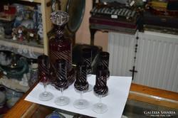 Bordó kristály pohárkészlet