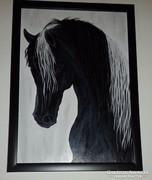 A fekete ló, farostra festett akril kép, keretben.