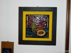 Tűzzománc falikép : Asztali csendélet (jelzett)