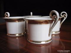 Antik, nagyméretű, biedermeier csokoládés csészék (4 db)