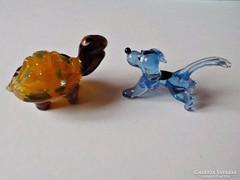 Muránói üveg teknősbéka és kutyus