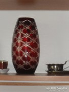 Csiszolt üveg-váza fotó szerint, M:26 cm Ker.:38 cm.