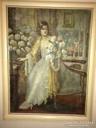 Márk Lajos olaj-vászon festmény családi hagyatékból...