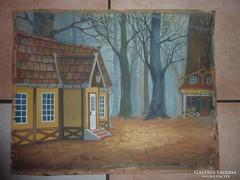 Színes házak magas fák között, régi akvarell