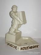 Régi Drasche reklám, figurális hamu és gyufatartó