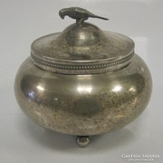 Antik ezüst cukortartó madárral