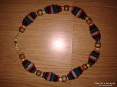 Pamut ékszer, rövid lánc, uniszex fa textil nyaklánc