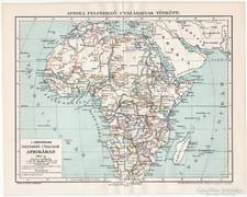 Afrika felfedező utazásai térkép 1894, eredeti, antik