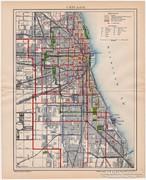 Chicago város térkép 1895, antik, eredeti