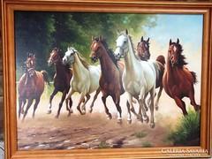 Vágtázó lovak művésznyomat keretben 50x70 cm