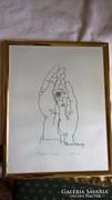 Reich Károly rajz Vigyázó kezek