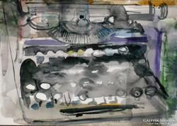 Olympia írógép akvarell