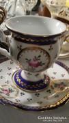 Fajansz régi vastag falú kézzel festett csésze