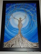 Női hormonok, farostra festett akril kép, keretben