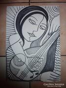 Szelíd arcú lány gitárral, tusrajz Vi. jelzéssel