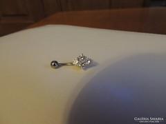 Ezüst-orvosi fém cirkon köves köldök piercing