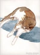 Fekvő macska akvarell