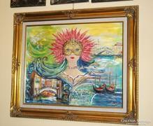 Velence-karneváli hangulat-egyedi festmény különlegesség