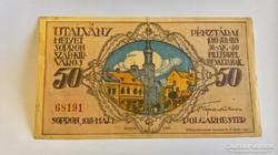Sopron 50 Fillér 1918 szükségpénz.