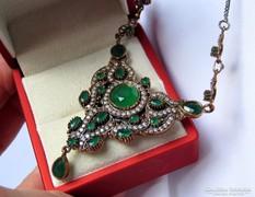 Gyönyörű kézműves török ezüst colier csillogó ékkövekkel