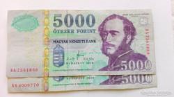 """2008 évi 5.000.-Ft-os papírpénz  """"BA"""""""