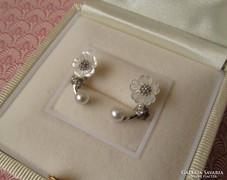 Virágos gyöngyös ezüst fülbevaló - stekker - romantikus