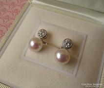 Tenyésztett gyöngyös ezüst fülbevaló - cirkónia kővel - új