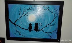 Cica és madárka, akrillal festett kép, keretben