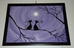 Cicák faágon, farostra festett akril kép, keretben