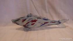 Retro színes üveg hal szobor