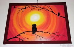 A bagoly,madarakkal,akrillal festett kép, keretben