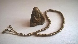 Réz szemekből készített 33-szemes Csotki réz Buddhával