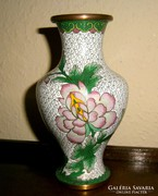 Kínai rekesz (Cloissoné) zománc váza 17 cm