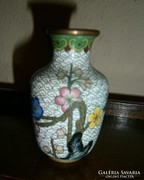 Kínai rekesz (Cloissoné) zománc váza 8 cm